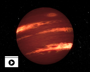 This artist's concept shows a brown dwarf with bands of clouds, thought to resemble those seen on Neptune and the other outer planets in the solar system. By using NASA's Spitzer Space Telescope, astronomers have found that the varying glow of brown dwarfs over time can be explained by bands of patchy clouds rotating at different speeds. (Animation: NASA/JPL-Caltech)