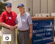 UA astronomy benefactor Richard F. Caris (left) with Regents' Professor Roger Angel, director of the Richard F. Caris Mirror Lab