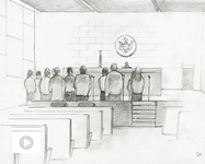 """UA faculty members have launched an innovative project, """"The Documented Border,"""" detailing the everyday realities, threats and challenges faced by Mexican journalists and migrants. The project has resulted in a new digital archive, which includes sketches of migrants processed in accelerated Operation Streamline court proceedings, as photography is prohibited in federal court. (Illustration by Lawrence Gipe)"""