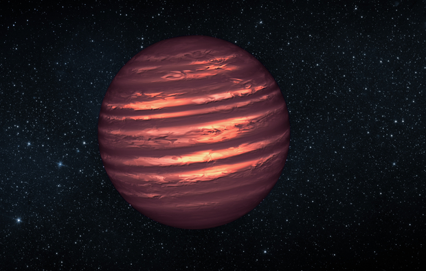 An artist's conception of the brown dwarf 2MASS-2228, one of the targets monitored in the Extrasolar Storms campaign. More massive than planets, but short of enough mass to shine like a star, brown dwarfs are home to swirling clouds that can form cloud patterns like Jupiter's Great Red Spot. Astronomers are using the Hubble and Spitzer Space Telescopes to monitor the evolution of cloud systems on this and five other brown dwarfs. (Image: NASA/JPL-Caltech)