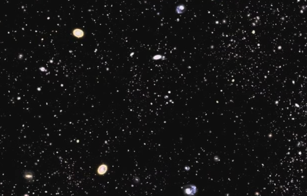 still image of the Sloan Digital Sky Survey shows galaxies mapped in Data Release 9