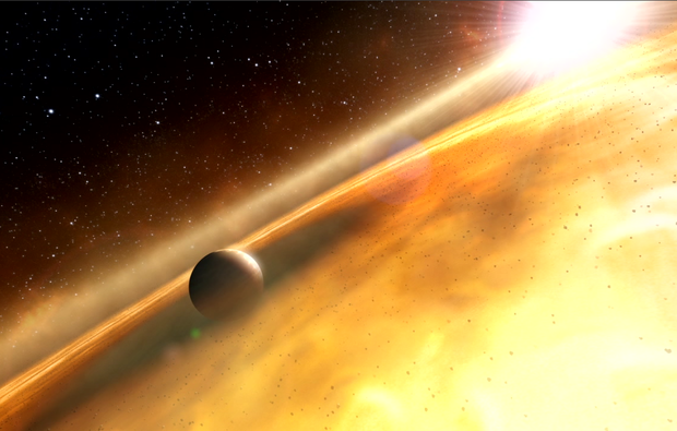 This is an artist's impression of the exoplanet, Fomalhaut b, orbiting its sun, Fomalhaut. (Illustration: M. Kornmesser/ESA/Hubble and L. Calçada & L. L. Christensen/ESO)
