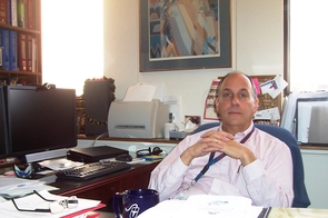 Dr. David Labiner in his office at the UA College of Medicine. Labiner's last quarterly reservation clinic trip was in January, with temperatures hovering near -1°F for the week. He plans to return in July.