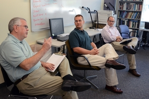 Panelists offer feedback to presenters at the inaugural Pitch McGuire event.