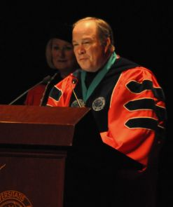 Rick Myers, chairman of the Arizona Board of Regents, speaks at the inauguration. (Photo credit: Patrick McArdle/UANews)