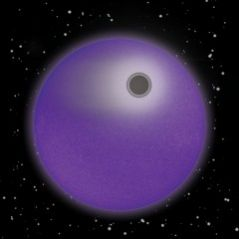 """The solar-type star, HD 209458, and its 'hot Jupiter"""" planet in transit are shown in simulated violet light. As in this illustration, the star would appear as a limb-darkened purple disk if seen in near-ultraviolet and violet light. The newly detected dense, narrow layer of hot hydrogen atoms is represented by the dark absorbing ring around the opaque planetary disk. The bulk of hydrogen atoms in the upper atmosphere, which forms an extensive cloud and also a comet-like tail, is shown in white. The absorbing layer was drawn at twice the altitude and 10 times the thickness to be more easily visible in this illustration, the rest of which has been drawn to scale. (Art credit: Loretta McKibben, UA Lunar and Planetary Lab)."""