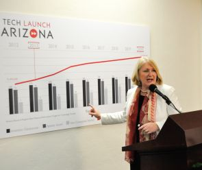 UA President Ann Weaver Hart supports Tech Launch Arizona at its grand opening event. (Photo by Patrick McArdle/UANews)
