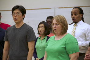 """""""This is such a serious, major invitation, and the stakes are high for us to perform to our best level. I am excited to be part of what will be part of the UA legacy,"""" said UA doctoral student Jason Dungee (right). (Photo credit: Beatriz Verdugo/UANews) Other members include (left to right) Taeyoung Kim, Jooyeon Hwang, Jacqueline Black and Christina Hales."""