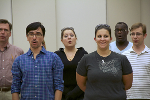 With the new academic year underway, UA School of Music students are learning to rehearse and perform at an extremely high level. Group members include music students (left to right) Douglas Leightenheimer, Olman Alfaro, Kathryn Vaitkevicius, Mindy Martin, Stanton Usher and Stephen Warner. (Photo credit: Beatriz Verdugo/UANews)