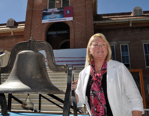 """UA President Ann Weaver Hart has said the efforts underway will help ensure that Old Main remains """"the front porch of the University."""" Hart and other University leaders have announced a $13.5 million fundraising campaign to further the restoration and renovation of Old Main. (Photo credit: Patrick McArdle/UANews)"""