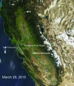 An image of the snow cover from 2015 (Image: NOAA/MODIS)