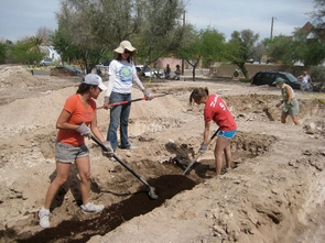 """UA senior Sofia Montes (left) hopes to see the garden become a source of educational awareness. """"We would love to see the garden utilized as an educational resource. Teachers could even use it for classes,"""" said Montes. (Photo credit: Vianett Mena)"""