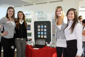 """Katie Smith, Sheila Kaiser, Jessica Wasser and Catherine Confehr developed """"GreenThumb,"""" a project to promote environmental awareness via smartphones."""
