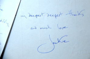 A letter from Jacqueline Kennedy Onassis written to Stewart and Lee Udall that is dated 1984 is part of the Special Collections. (Photo credit: Norma Jean Gargasz/UANews)