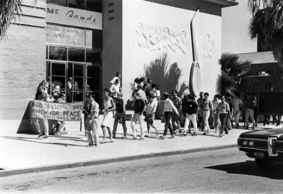 Historically, University students have protested a number of wars, including the Vietnam War. Peaceful protests included speeches, boycotts of University classes and a march from the UA to the federal building. (Photo courtesy of Special Collections)