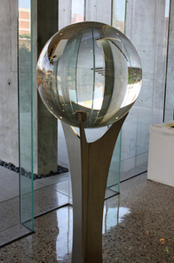 The sphere rests on a stand that was designed and built by Scott Benjamin in the College of Optical Sciences.