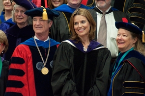 "Savannah Guthrie, center, was a UA commencement speaker in 2011. She has been named co-anchor of ""TODAY"" with Matt Lauer. (Photo by Patrick McArdle/UANews)"