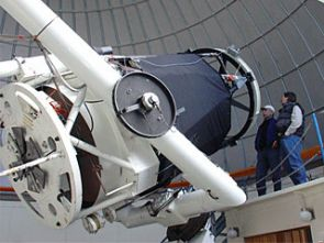 The 60-inch telescope at Steward Observatory's Mt. Lemmon site can detect objects 2 million times dimmer than the human eye can see. (Photo: Lori Stiles)