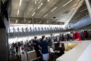 The recently expanded Student Recreation Center is transforming into a site that offers not only a space for exercise, but for studying and socializing as well. (Photo credit: FJ Gaylor Photography)