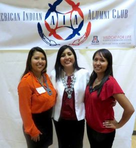 UA undergraduate Carol Seanez and graduate students, Amanda Cheromiah of the higher education program and Shivanna Johnson of microbiology, are all American Indian Alumni Club scholarship recipients. (Photo credit: Chad S. Marchand)