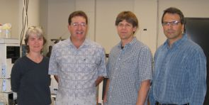 Left to right: Mary Kay Amistadi, research specialist, principal; John Chesley, co-director; Leif Abrell, associate research scientist; and John Chorover, co-director. (Credit: Courtesy of the Arizona Laboratory for Emerging Contaminants, UA)