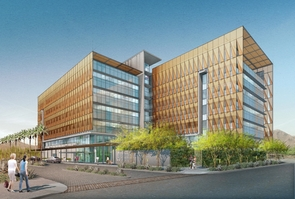 A rendition of the future University of Arizona Cancer Center-Phoenix building.