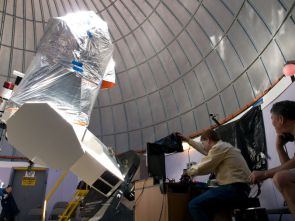 Adam Block positions the telescopes for viewing Venus passing across the sun. (Photo: Patrick McArdle/UANews)