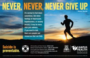 Among the UA's various suicide prevention resources are educational posters and brochures.