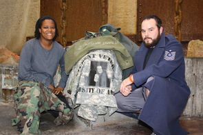 UA student veterans Natasha Crawford and Ricardo Pereyda are among those who will convert their retired military uniforms into works of art for a Nov. 17 exhibit at the UA.