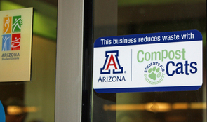 Cellar Bistro, Sabor, and 3 Cheeses & a Noodle, each located in the Student Union Memorial Center, are working with Compost Cats to encourage their customers to compost waste. (Photo credit: Beatriz Verdugo/UANews)