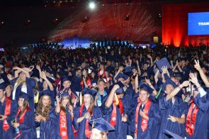 "Zachary S. Brooks,  president of the Graduate and Professional Student Council, reminded the graduates that they "" are ambassadors, connecting the University of Arizona to inner space, local space, aerospace and outer space."" (Photo credit: Robert Walker)"