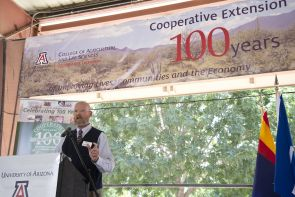 Jeffrey Silvertooth, associate dean and director of economic development and extension in the UA College of Agriculture and Life Sciences speaks at the 100th anniversary of the creation of Cooperative Extension. (Photo: Lynn Ketchum)