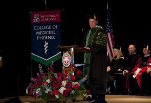 Dr. Stuart D. Flynn, dean of the UA College of Medicine-Phoenix, addresses graduation at the Phoenix Convention Center.
