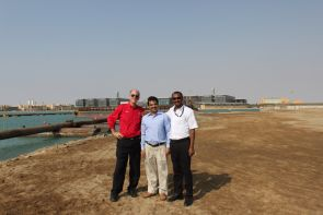 In October, Kevin Fitzsimmons (left), director of CALS International Programs, visited the site where the Desert Agriculture Research Institute greenhouse facilities will be constructed. He is pictured here with Aftab Alam (middle) and Ali Madi Idris (right), a KAUST faculty member formerly of the UA School of Plant Sciences.