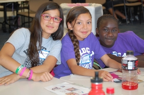 """Ariana Ramos, Ariana Bustamante and Mary Leopoldo (left to right) were among the dozens of girls attended the recent TogetHER Girls Empowerment and Leadership Program, """"Dream Without Boundaries,"""" at the UA. (Photo credit: Ashely Dickerson)"""