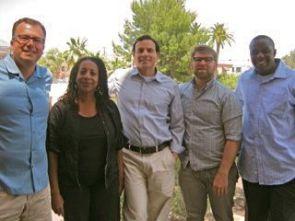 Alain-Philippe Durand (left) is principal investigator on a new Confluencenter grant. His collaborators are UA faculty members (left to right): Tani Sanchez, Alex Nava, John Melillo and Praise Zenenga. (Photo credit: Rebecca Kisch)