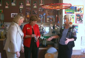 While in Prescott, UA President Ann Weaver Hart, along with Yavapai College President Penny Wills and others, toured the Del E. Webb Family Enrichment Center at the college.