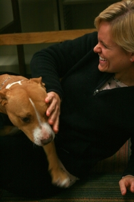 """Darcy Elgin, who is studying law and public health at UA, has visited for pet therapy several times saying, """"I am just happy to see them here."""""""