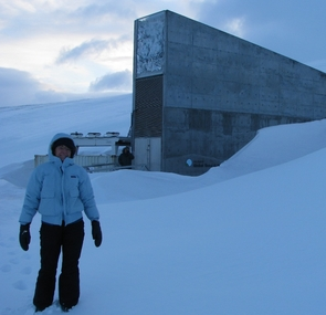 UA plant scientist Margaret Norem outside the entrance to the Global Seed Vault in Svalbard, Norway in February. (Photo by Nancy Unklesbay)