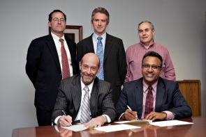 Representatives from the James E. Rogers College of Law and the Jindal Global Law School of O.P. Jindal Global University in India came together this month to sign a new agreement. (Photo courtesy of Nancy Stanley)