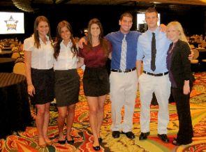 UA's Final Four interns, L-R: Taylor Heinlein, Allison Ceppi, Lauren Sokol, Jeff Robin, Cody Wingert and Annie Marum. Image courtesy of Annie Marum.