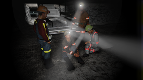 Leonard Brown's computer games have intricate scenarios and built-in consequences, for example when crew members are injured in the process of evacuating the mine. The player must decide what to do to get his crew to safety. (Image courtesy of Leonard Brown)