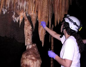 Doctoral candidate Marian Ortiz in the UA's department of soil, water and environmental science samples microbes that live on the surface of stalactites and other mineral deposits in Kartchner Caverns. (Photo courtesy of Ginger Nolan/Kartchner Caverns State Park)