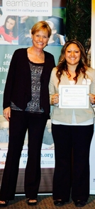UA student Katrina Verduzco (right) was among the first students to participate in the AZ Earn to Learn program. She is pictured here with Kate Hoffman, executive director of Live the Solution. (Photo courtesy of Verduzco)