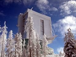 The Large Binocular Telescope at 10,500 feet on Mount Graham, after snowfall in January 2007. (R. Pogge)