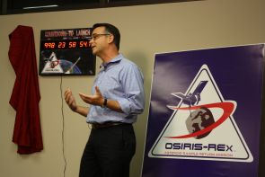 OSIRIS-REx principal director Dante Lauretta, a professor in the UA's department of planetary science, unveiled the countdown clock and spoke to members of the press about the progress of the mission. (Photo: D. Stolte/UANews)