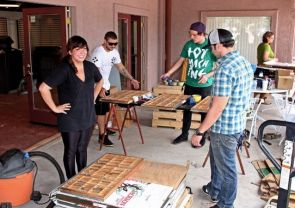 It took volunteer faculty members, students and friends about two weeks to transport about 15 tons of letterpress equipment from New Mexico to the UA, now home to the Jack Sinclair Letterpress Studio. (Photo courtesy of Karen Zimmerman)