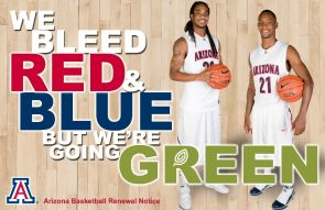 Wildcat basketball players Jesse Perry and Kyle Fogg are part of a campaign to encourage fans to renew their season tickets online. (Image courtesy of Arizona Athletics)