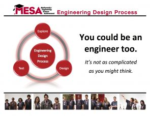 Students experience MESA, a nationwide program, as a school club. Students and their advisers meet weekly either during or after school to explore, build and test their designs, and then bring final versions to participate in regional and national competitions.