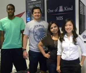 From left: Ahmed Elhag, Ramses Cruz-Garcia, Melissa Gil and Stephanie Ho are pre-business majors and Zipperman Scholars. They are learning on the job as interns at the Eller College.